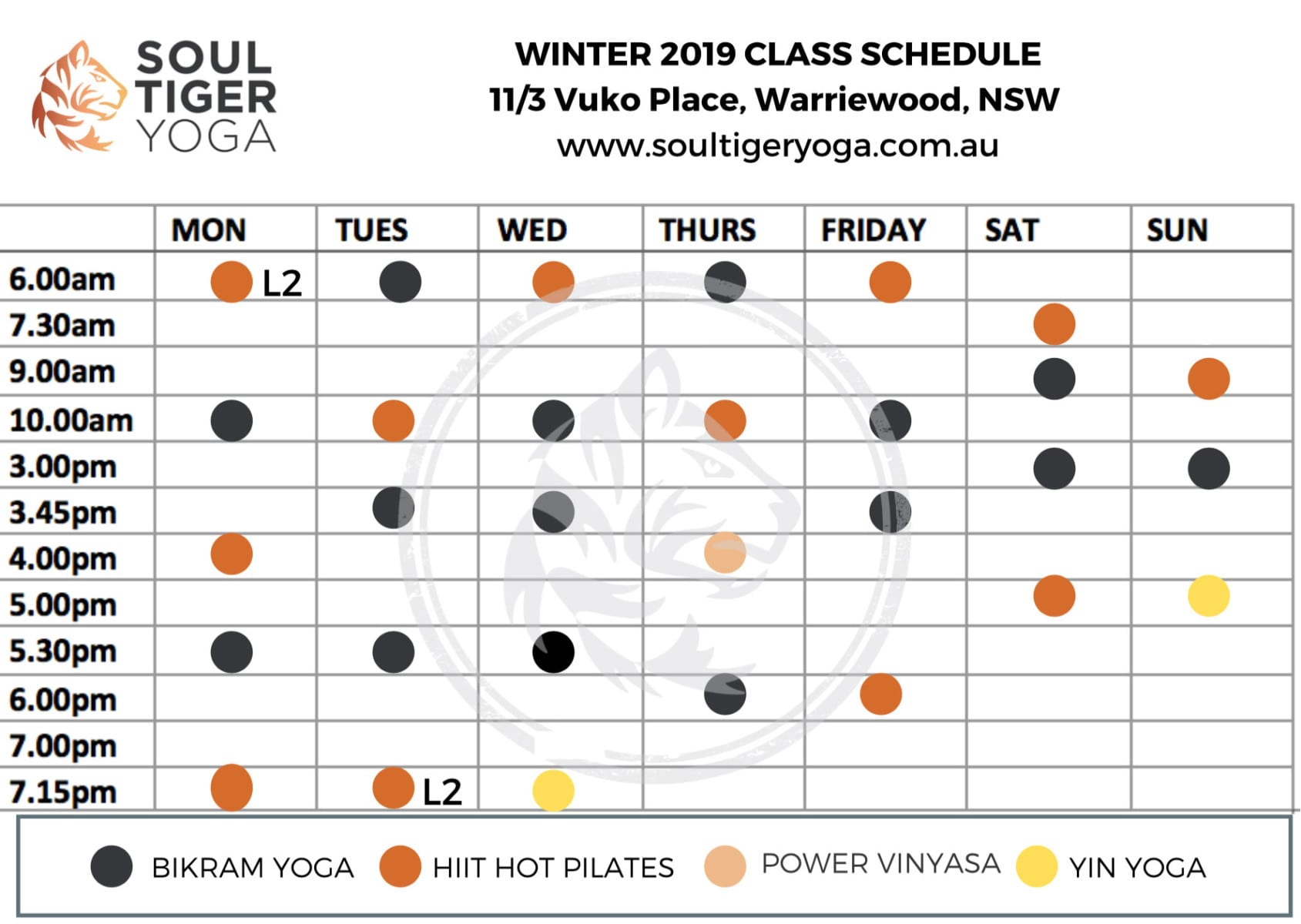 Soul Tiger Yoga Class Timetable - Northern Beaches Hot yoga and Pilates
